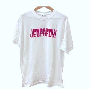 NWOT Jeopardy T Shirt White Red Logo Alex Trebek L